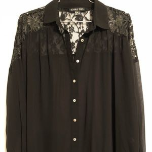 Double zero black blouse with lace & gold detail